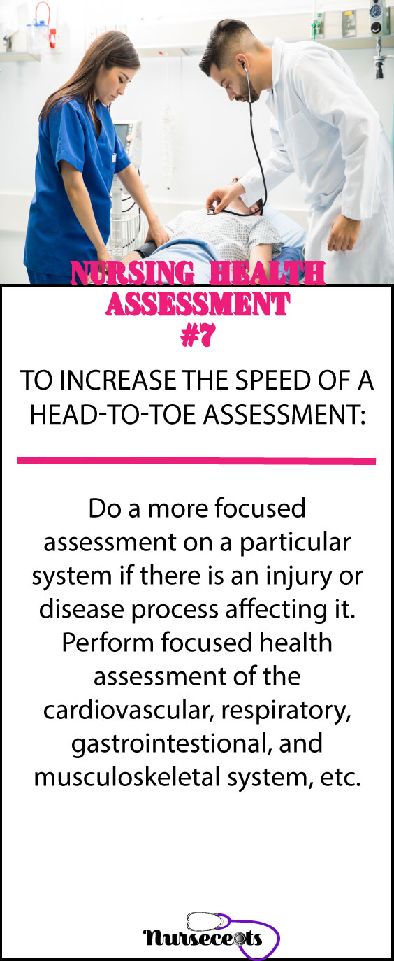 Increasing the speed of a head-to-toe assessment #7