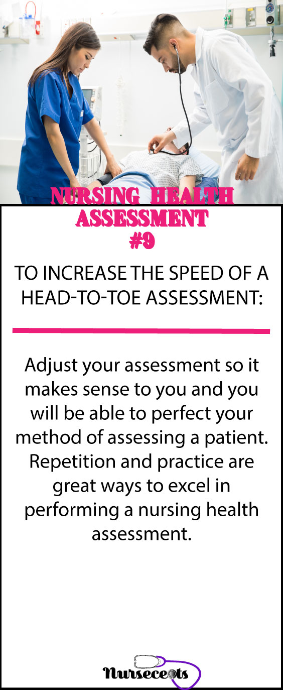 Increasing the speed of a head-to-toe assessment #9